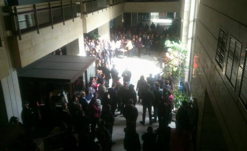 Protest upozorenja Samostalnog sindikata radnika u BHRT-u